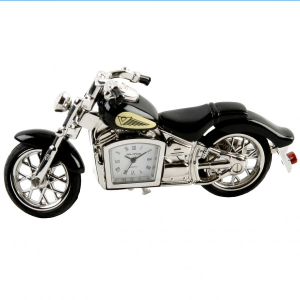 Miniature Clock - Black Motorbike